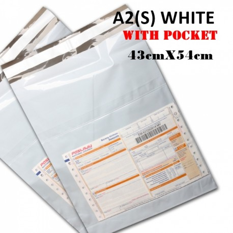 A2(S) Size White Courier Bag Pocket 43cmX54cm,1pc