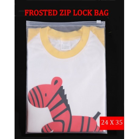 F2 Frosted Plastic Bag with Zip Lock (24cmX35cm,1pc)
