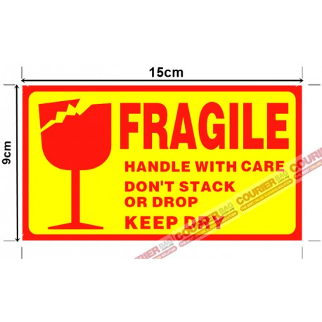 S1 Fragile Sticker Yellow 15cm x 9cm, 45pcs
