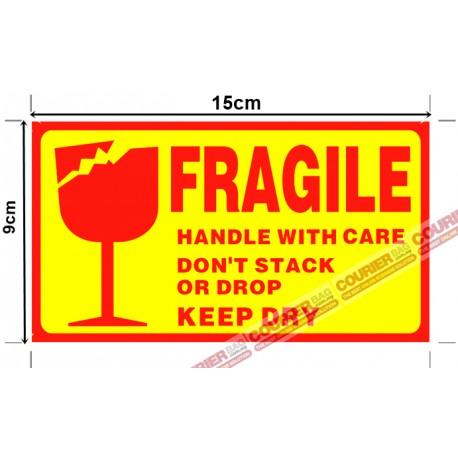 S1 Fragile Sticker Yellow 15cm x 9cm, 45pcs