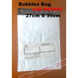 BUBBLE PLASTIC COURIER BAG WITH POCKET 27CMX35CM,1PC