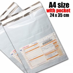 A4 size white color pocket courier bag (24 x 35 cm), 1pc