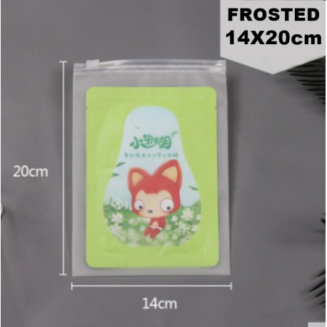 14x20cm Frosted Plastic Bag with Zip Lock