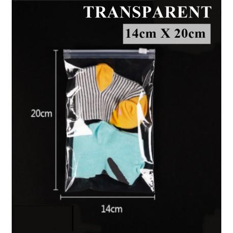 T7 Transparent Plastic Bag with Zip Lock (14cmX20cm, 1pc)