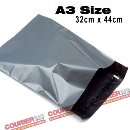 A3 size black courier bag (32x44 cm, 100pcs)