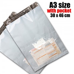 A3 size white color pocket courier bag (30 x 46 cm), 1pc