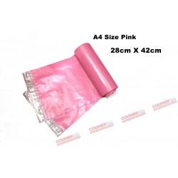 A4 size pink courier bag (28 X 42 cm, 10pcs)